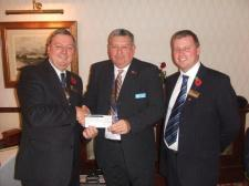 Receiving a contribution from a local Rotary Club
